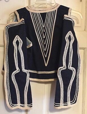 RARE Eastern European(?) Vintage(?) Handmade Navy Wool Folk Jacket~White Trim~EX