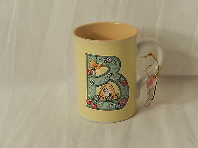 """Mary Engelbreit Enesco  Coffee Cup, Letter """"B"""" , Beehive, Butterfly, 2003,GC"""