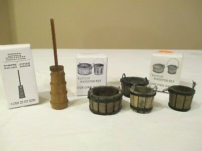 Miniature DOLLHOUSE Accessories Butter Churn & Wash Tubs in Boxes