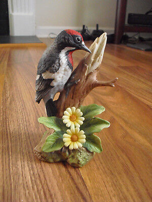 Andrea Bisque Figurine of Downy Woodpecker No.9386 With Buttercups
