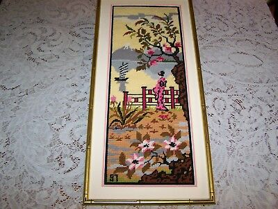 Embroidered Japanese Asian Wall Art With Bamboo Style Frame