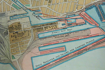 antique CANADA Montreal Harbour Map 1914 RARE History Montreal Harbour Board