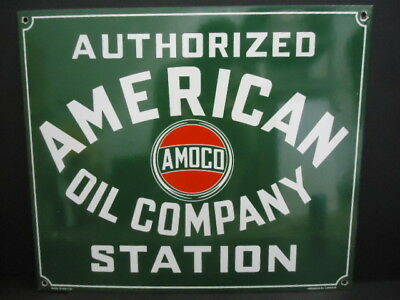Old 1958 American Oil Company Authorized Dealer Porcelain Sign Amoco 7-58