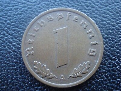 Rare Old WWII Antique Germany 1939 A 3rd Reich SS Nazi Eagle 1 pfenning Coin H2