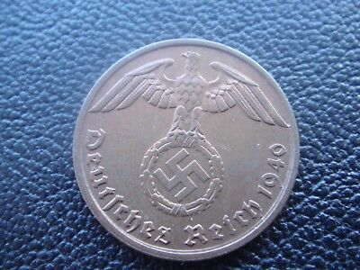 Rare Old WWII Antique Germany 1940 A 3rd Reich SS Nazi Eagle 1 pfenning Coin H2