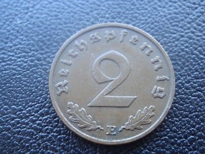 Rare Old WWII Antique Germany 1938 E 3rd Reich SS Nazi Eagle 2 pfenning Coin H