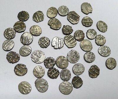 World's Smallest Silver Coin! Lot of 40 18th Century INDIAN Fanams! See Photos!!