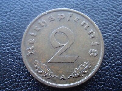 Rare Old WWII Antique Germany 1939 A 3rd Reich SS Nazi Eagle 2 pfenning Coin H1