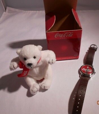 NIB - Avon Coca-Cola Bear with Watch