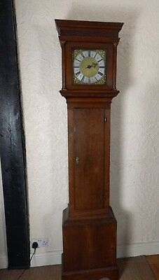 18th Century Single Finger Brass Faced Longcase Clock Richard Weller Eastbourne