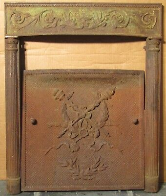*LOOK* COMPLETE VINTAGE Cast Iron Fireplace Mantle & Insert Surround Shell Door