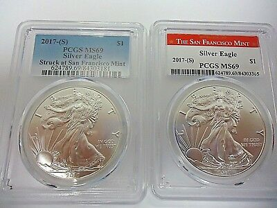 2Coin Set** red&blue  2017 (S) 1 oz Silver American Eagle  PCGS MS 69 (SF Label)