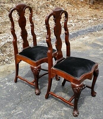 Perfect Pair of Queen Anne style Mahogany Chairs