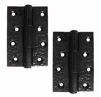 "A Pair Of 3"" x 2"" Butt Hinges in Rustic Black Cast Iron (JAB103)"
