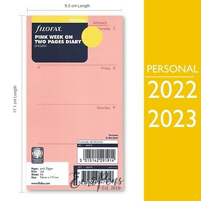 Filofax 2019 Personal Size Week on two pages English pink Diary Refill (68478)