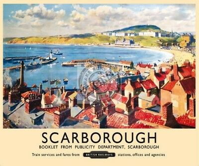 Scarborough, Harbour, Beach, Old British Rail Ad Large Metal Steel Wall Sign