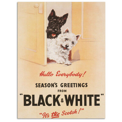 Black & White Scotch Whisky with Scotty Dogs. Pub Fridge Magnet
