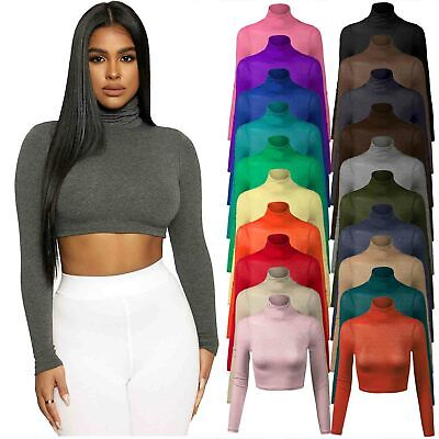 Womens Girls Turtle Neck Crop Top Ladies Mesh Long Sleeve Polo Short Stretch Top