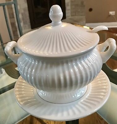 Vintage White Ribbed Ceramic Soup Tureen And Lid With Underplate And Ladle