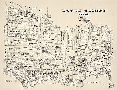 12x18 inch Reprint of American Cities Towns States Map Bowie County Texas
