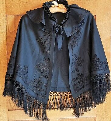 Antique Edwardian Victorian Ladies Black Wool Cape Shawl