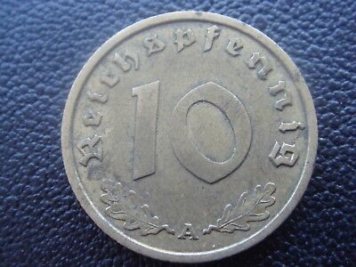 Rare Old WWII Antique Germany 1939 A 3rd Reich SS Nazi Eagle 10 pfenning Coin H2