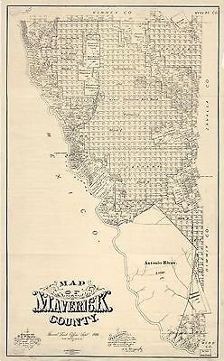 12x18 inch Reprint of American Cities Towns States Map Maverick County Texas