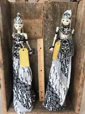 Ramayana and Shinta  Wooden Indonesian Rod Dolls Vintage Puppets