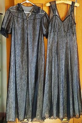 Vintage 1950's Ladies Long Black Lace Nightgown Negligee & Matching Robe