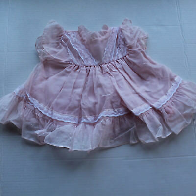 Vintage Baby Size 12M Pink Polka Dot and Lace Dress