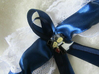 Navy Blue Wedding Garter with White Lace Blue Ribbon & Bride and Groom Charm.