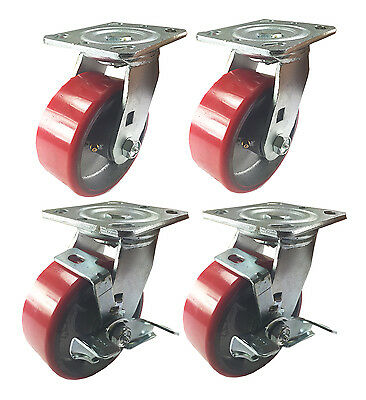 "4 Swivel Casters 6"" Heavy Duty Cast Iron Hub Non Skid Mark Wheels 2 Swivel Brake"