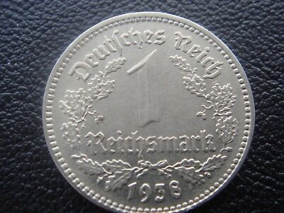 Germany 1938 E 3rd Reich SS Nazi Eagle 1 Reichsmark mark nickel Coin H