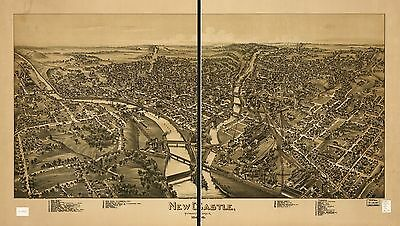 12x18 inch Reprint of American Cities Towns States Map Newcastle Pennsylvania