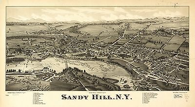 12x18 inch Reprint of American Cities Towns States Map Sandy Hills New York