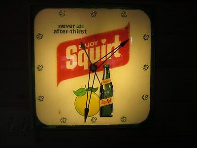 1972 Squirt Pam Clock.  Lighted Advertisement Sign.  Lemon Lime Grapefruit Soda