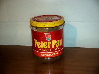 Vintage Peter Pan Peanut Butter Glass Jar & Lid Large 48oz.