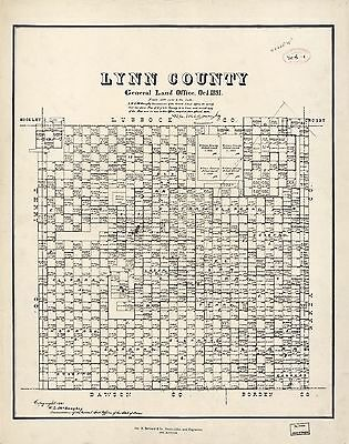 12x18 inch Reprint of American Cities Towns States Map Lynn County Texas