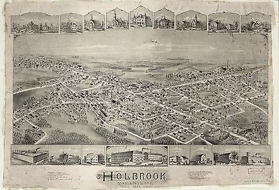 12x18 inch Reprint of American Cities Towns States Map Holbrook Mass