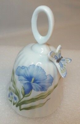 Vintage Porcelain Bell with Flowers and a 3D Butterfly