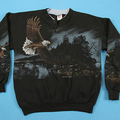 VINTAGE 90s Bald Eagle Art Unlimited All Over Pattern Henley Pullover Sweatshirt