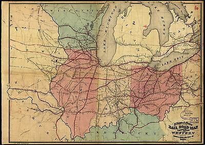 12x18 inch Reprint of American Railroad Map Western States