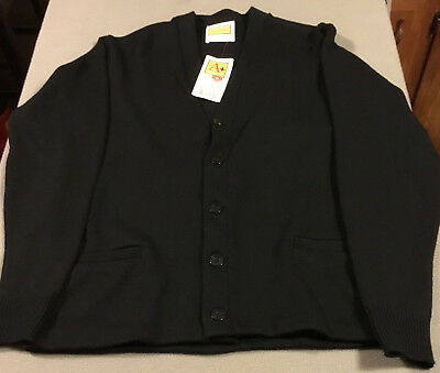 School Apparel #6300 Classic V-Neck Cardigan Sweater -Navy -Size Youth Xl -New