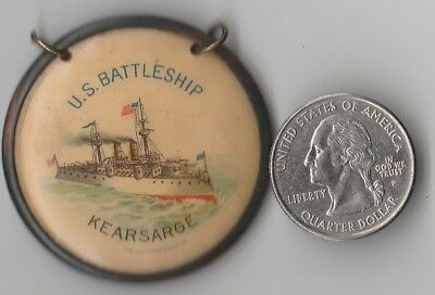 "Vintage 1900 ""souvenir Uss Battle Ship Kearsarge Presentation"" Pendant Button !!"