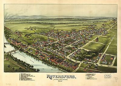 12x18 inch Reprint of American Cities Towns States Map Royersford Pennsylvania