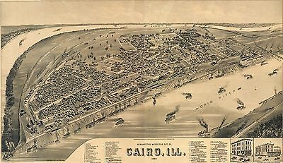 12x18 inch Reprint of Old Map 1880s Perspective America Cairo Illinois 1888