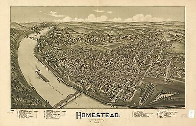 12x18 inch Reprint of American Cities Towns States Map Homestead Pennsylvania