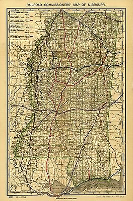 12x18 inch Reprint of American Railroad Map Mississippi