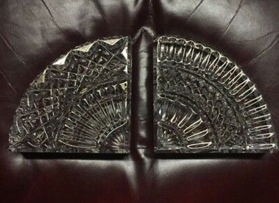 WATERFORD Crystal QUADRANT Bookends ~ Pair - EXCELLENT! FREE SHIPPING!