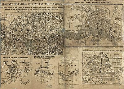 12x18 inch Reprint of American Military Map Kentucky Tennessee
